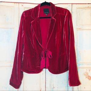 The Limited red velvet blazer with ribbon tie L